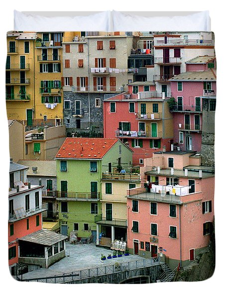 Manarola Houses On The Cinque Terre Duvet Cover by Greg Matchick