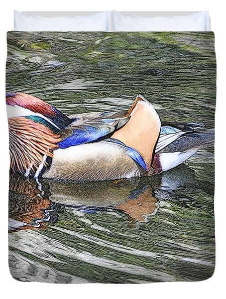 Duvet Cover featuring the photograph Mandarin Duck  by Lydia Holly