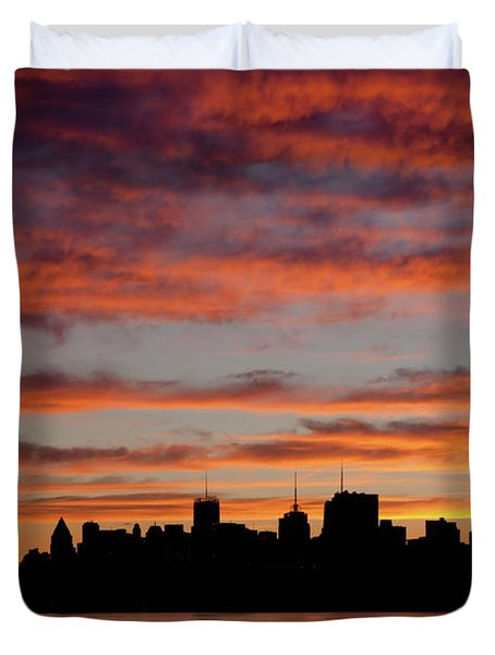 Manhattan Dawn Skyline II Duvet Cover by Clarence Holmes