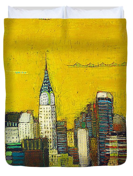 Manhattan With Chrysler And Empie Duvet Cover by Habib Ayat