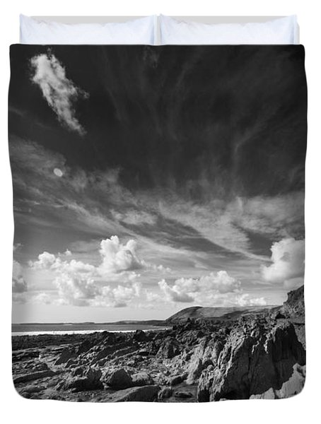 Duvet Cover featuring the photograph Manorbier Rocks by Steve Purnell