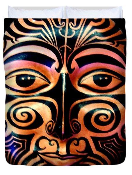 Duvet Cover featuring the sculpture Maori Mask by Michelle Dallocchio