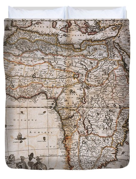 Map Of Africa, 1688 Duvet Cover by Photo Researchers