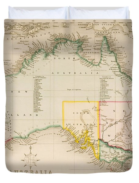 Map Of Australia And New Zealand Duvet Cover by J Archer