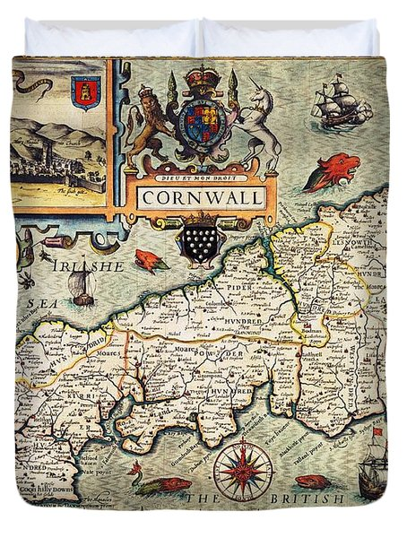 Map Of Cornwall Duvet Cover by John Speed