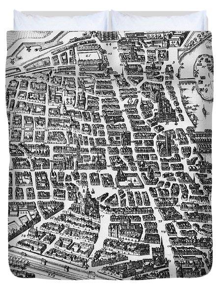 Map Of Paris Duvet Cover by German School