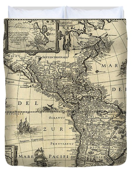 Map Of The Americas 1640 Duvet Cover by Photo Researchers