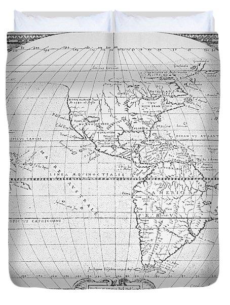Map Of The New World 1587 Duvet Cover by Richard Hakluyt