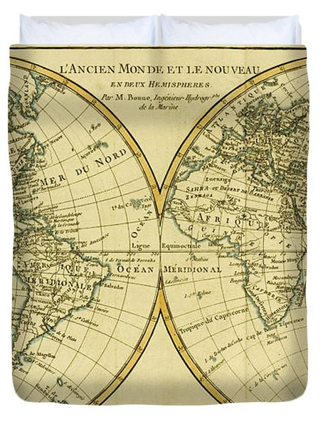 Map Of The World In Two Hemispheres Duvet Cover by Guillaume Raynal