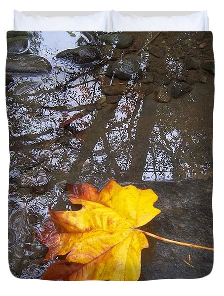 Maple Leaf Reflection 1 Duvet Cover by Peter Mooyman