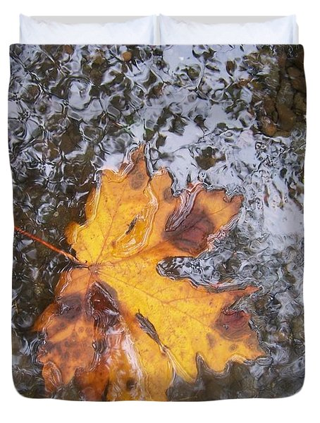 Maple Leaf Reflection 2 Duvet Cover by Peter Mooyman