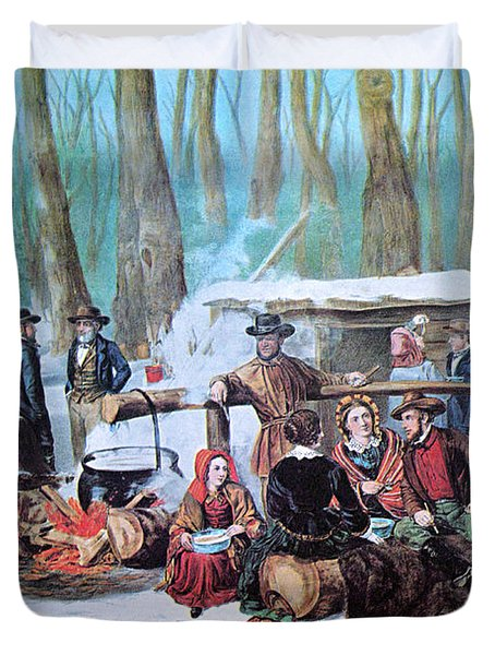Maple Sugaring, 1872 Duvet Cover by Photo Researchers