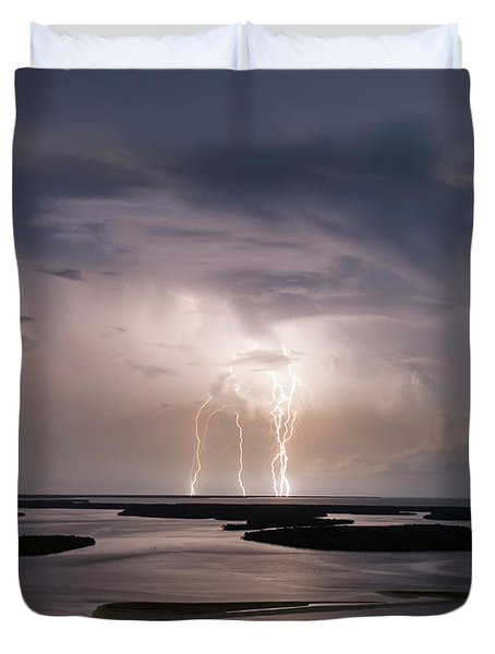 Marco Lightning Duvet Cover by Nick  Shirghio