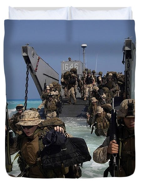 Marines Disembark A Landing Craft Duvet Cover by Stocktrek Images