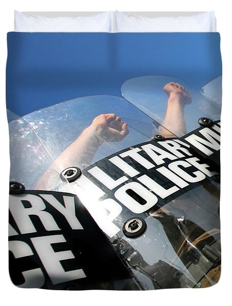 Marines Practice Riot Control Duvet Cover by Stocktrek Images