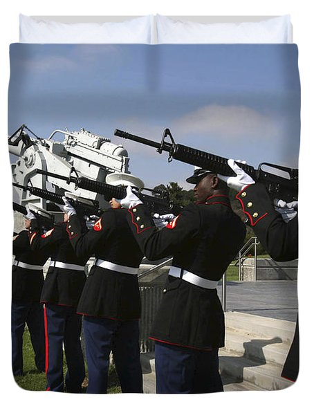 Marines Practices Drill Movements Duvet Cover by Stocktrek Images