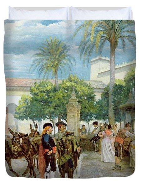 Market Day In Spain Duvet Cover by Filippo Baratti