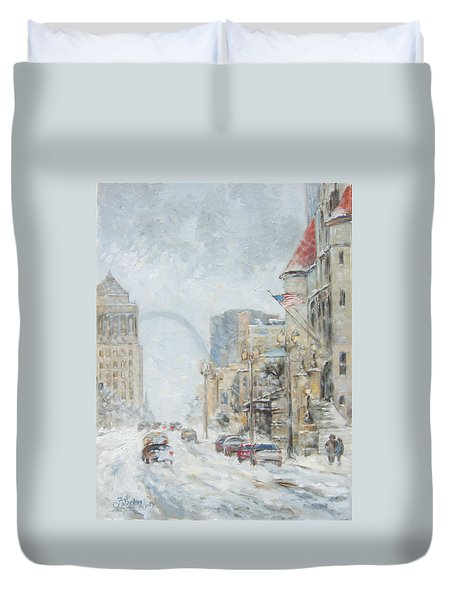Market Street In Winter In St.louis Duvet Cover