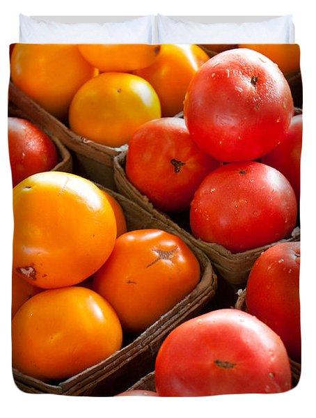 Market Tomatoes Duvet Cover by Lauri Novak