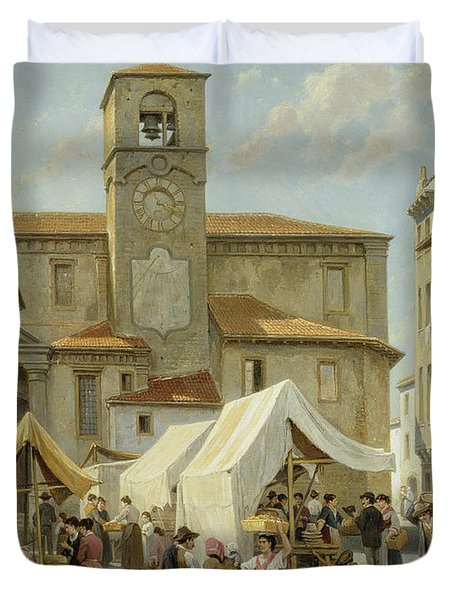 Marketday In Desanzano  Duvet Cover by Jacques Carabain