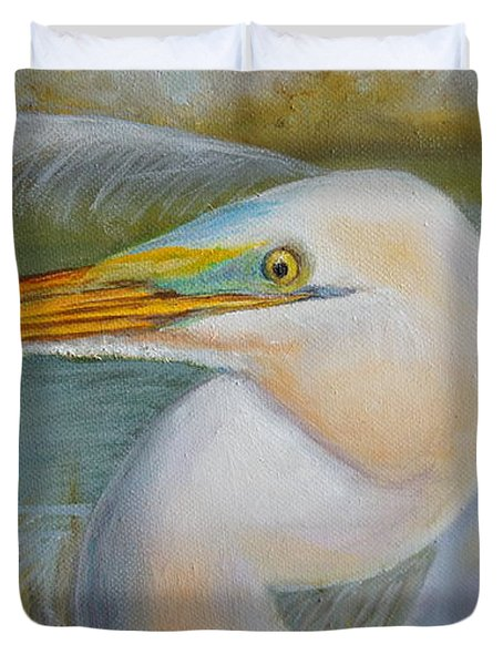 Duvet Cover featuring the painting Marsh Master by Marlyn Boyd