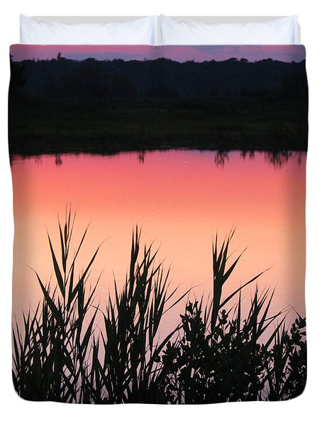 Duvet Cover featuring the photograph Marsh Sunset by Clara Sue Beym