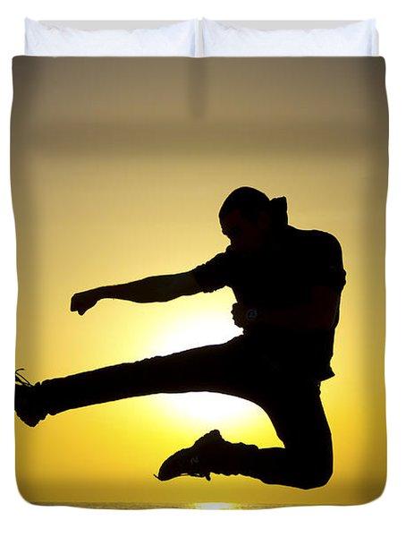 Martial Arts Silhouette Duvet Cover by Guy Viner