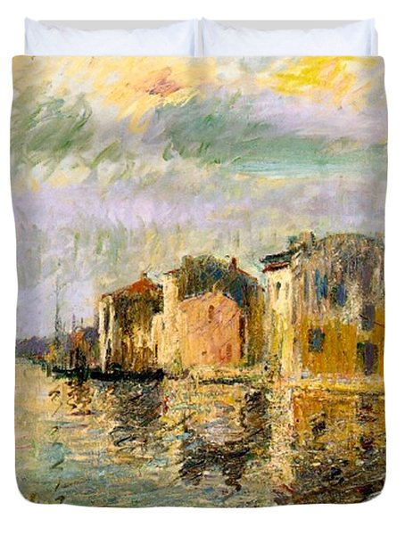 Martigues In The South Of France Duvet Cover by Gustave Loiseau