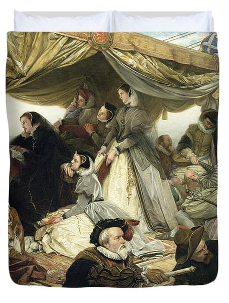 Mary Stuart's Farewell To France Duvet Cover by Henry Nelson O Neil