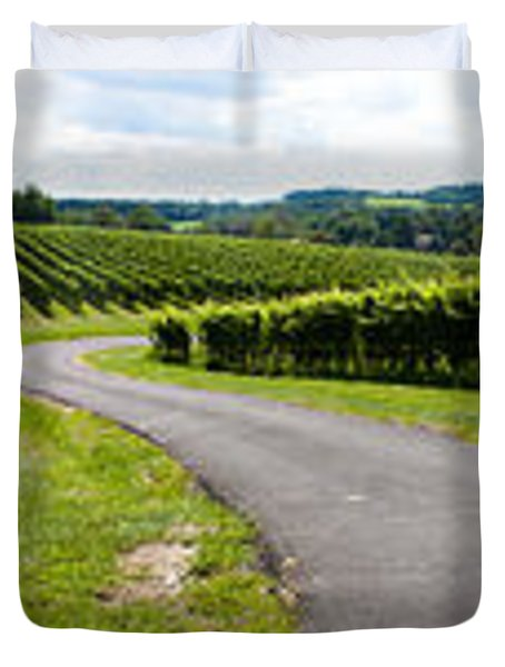 Maryland Vineyard Panorama Duvet Cover by Thomas Marchessault