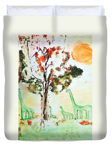 Duvet Cover featuring the painting Matei's Dinosaurs by Evelina Popilian