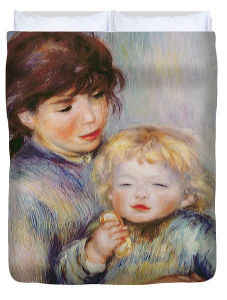Maternity Or Child With A Biscuit Duvet Cover by Pierre Auguste Renoir