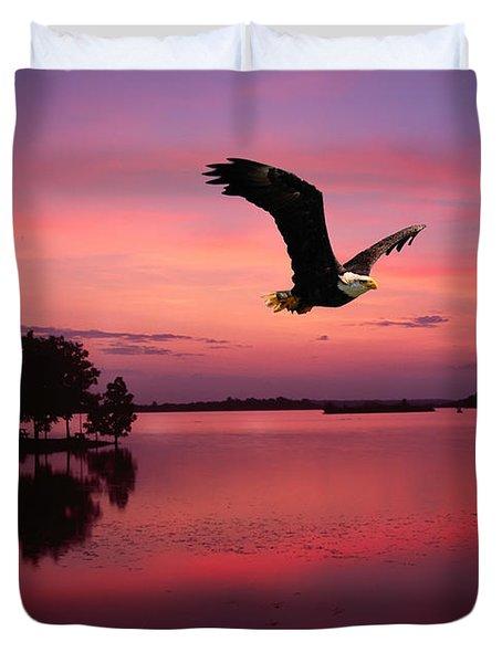 Duvet Cover featuring the photograph Mauve Sundown Eagle  by Randall Branham