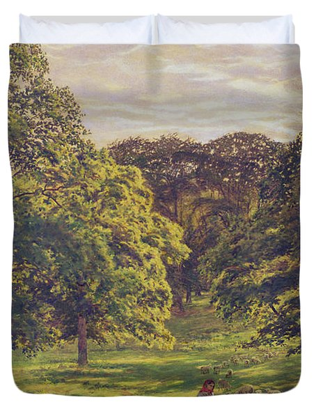 Meadow Scene  Duvet Cover by John William Buxton Knight