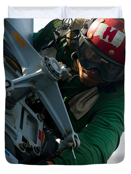 Mechanic Inspects An Mh-60r Sea Hawk Duvet Cover by Stocktrek Images