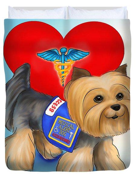 Medical Alert Yorkie Duvet Cover