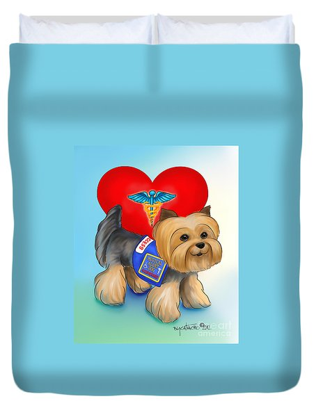 Medical Alert Yorkie Duvet Cover