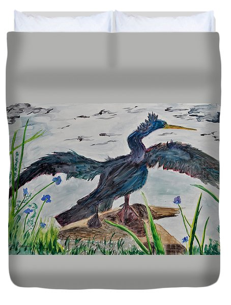 Anhinga-drying Out Duvet Cover by Mickey Krause