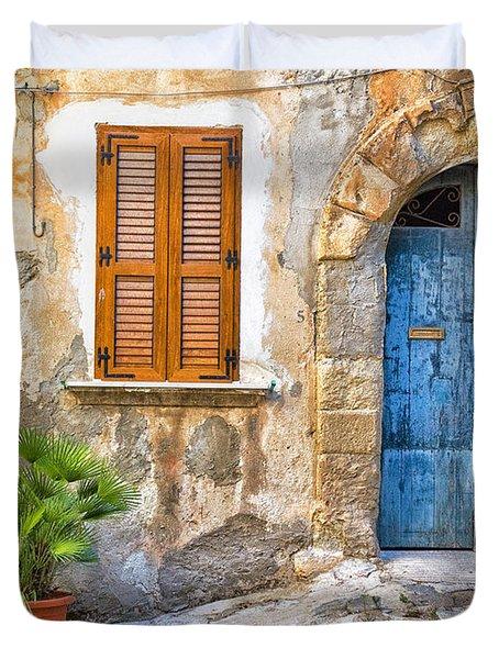 Mediterranean Door Window And Vase Duvet Cover