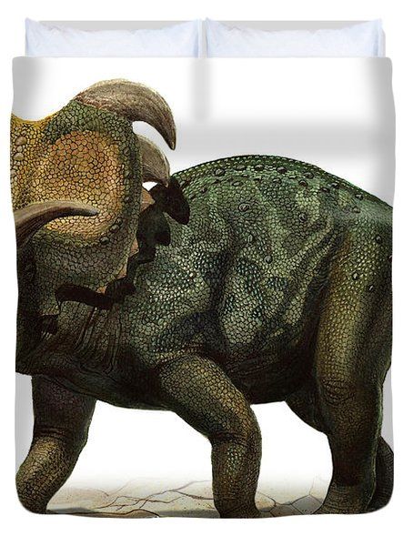 Medusaceratops Lokii, A Prehistoric Era Duvet Cover by Sergey Krasovskiy