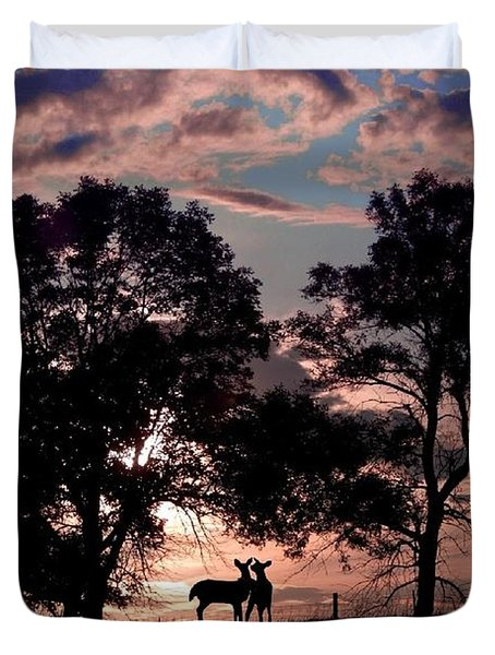 Meeting In The Sunset Duvet Cover by Bill Stephens