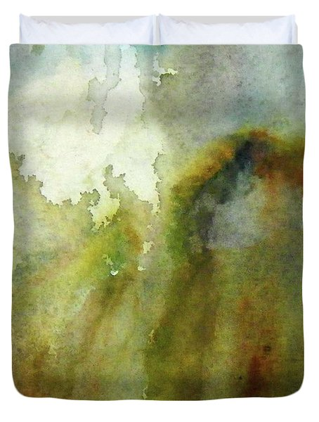 Duvet Cover featuring the painting Melting Mountain by Anna Ruzsan