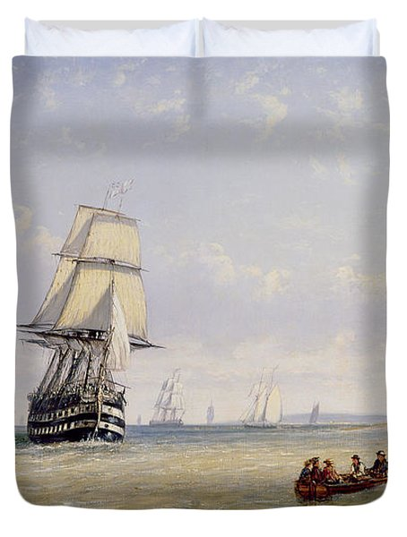 Meno War Schooners And Royal Navy Yachts Duvet Cover by Claude T Stanfield Moore