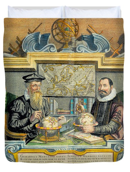 Mercator And Hondius Duvet Cover by Science Source