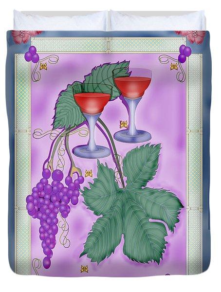 Merlot Fine Wines Orchard Box Label Duvet Cover by Anne Norskog