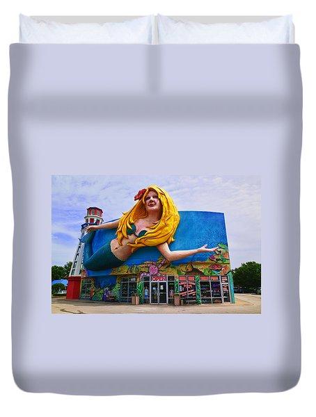 Mermaid Building Duvet Cover by Garry Gay