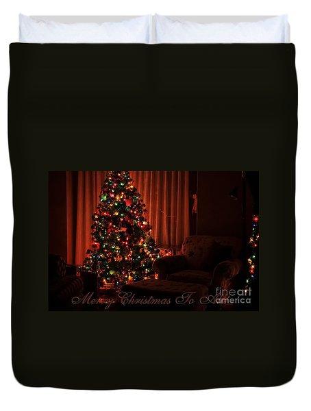 Merry Christmas To All Christmas Card Duvet Cover