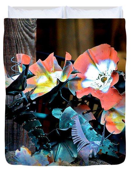 Metallic Poppies Duvet Cover by Karon Melillo DeVega