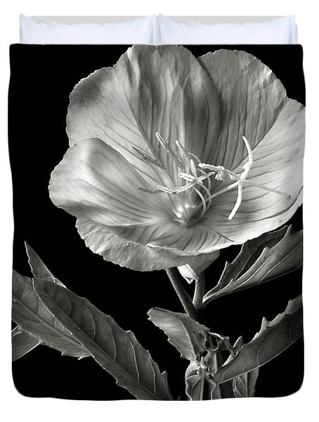 Mexican Evening Primrose In Black And White Duvet Cover by Endre Balogh