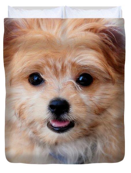 Duvet Cover featuring the photograph Mi-ki Puppy by Angie Tirado